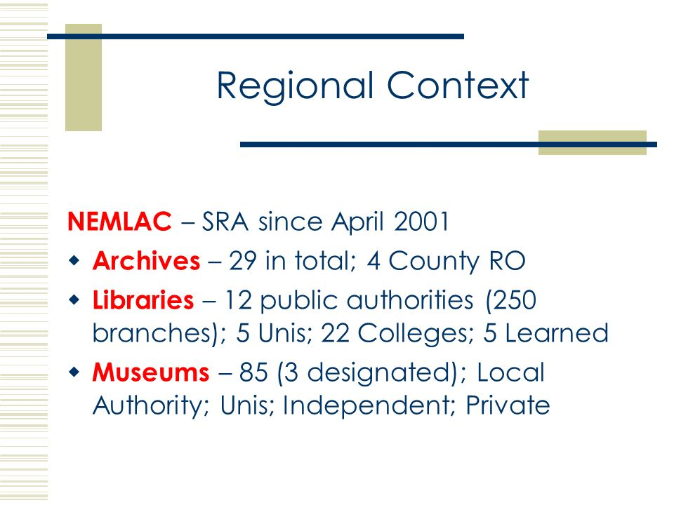 Regional Context NEMLAC – SRA since April 2001 Archives – 29 in total; 4 County RO Libraries – 12 public authorities (250 branches); 5 Unis; 22 Colleges; 5 Learned Museums – 85 (3 designated); Local Authority; Unis; Independent; Private