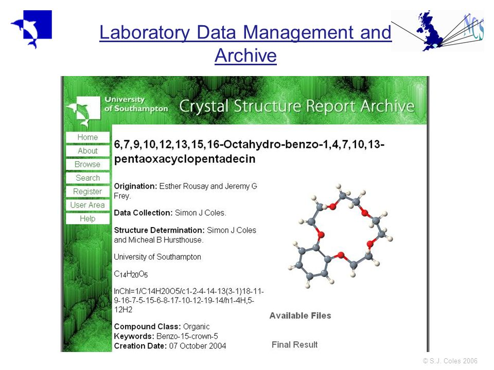 © S.J. Coles 2006 Laboratory Data Management and Archive