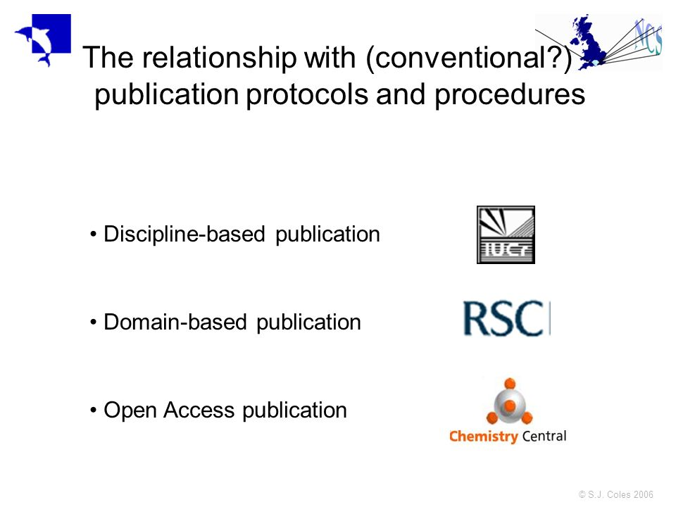 © S.J. Coles 2006 The relationship with (conventional?) publication protocols and procedures Discipline-based publication Domain-based publication Ope