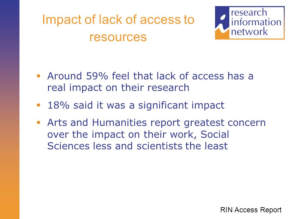 Impact of lack of access to resources Around 59% feel that lack of access has a real impact on their research 18% said it was a significant impact Arts and Humanities report greatest concern over the impact on their work, Social Sciences less and scientists the least RIN Access Report