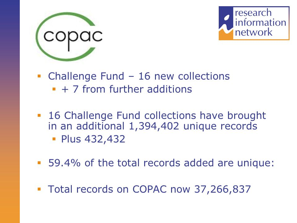 Challenge Fund – 16 new collections + 7 from further additions 16 Challenge Fund collections have brought in an additional 1,394,402 unique records Plus 432,432 59.4% of the total records added are unique: Total records on COPAC now 37,266,837