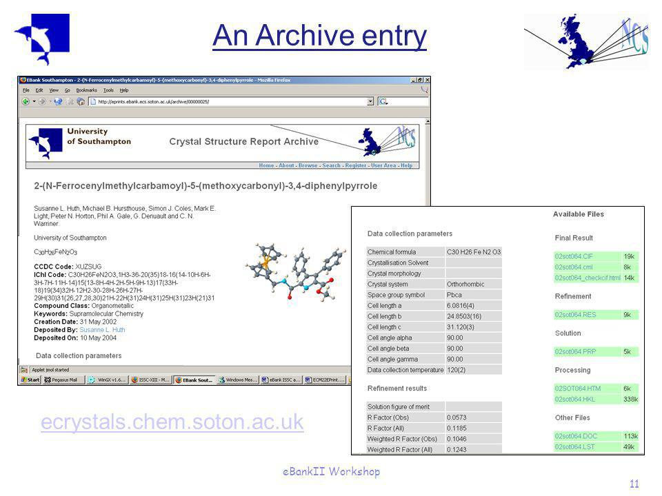 eBankII Workshop 11 An Archive entry ecrystals.chem.soton.ac.uk