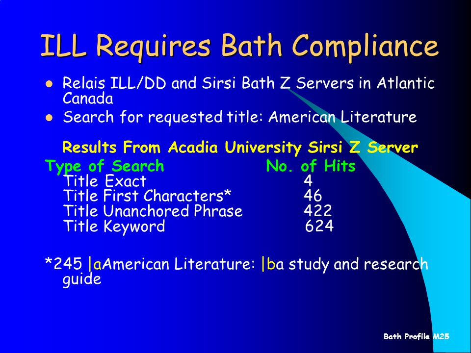 Bath Profile M25 ILL Requires Bath Compliance Relais ILL/DD and Sirsi Bath Z Servers in Atlantic Canada Search for requested title: American Literature Results From Acadia University Sirsi Z Server Type of Search No.