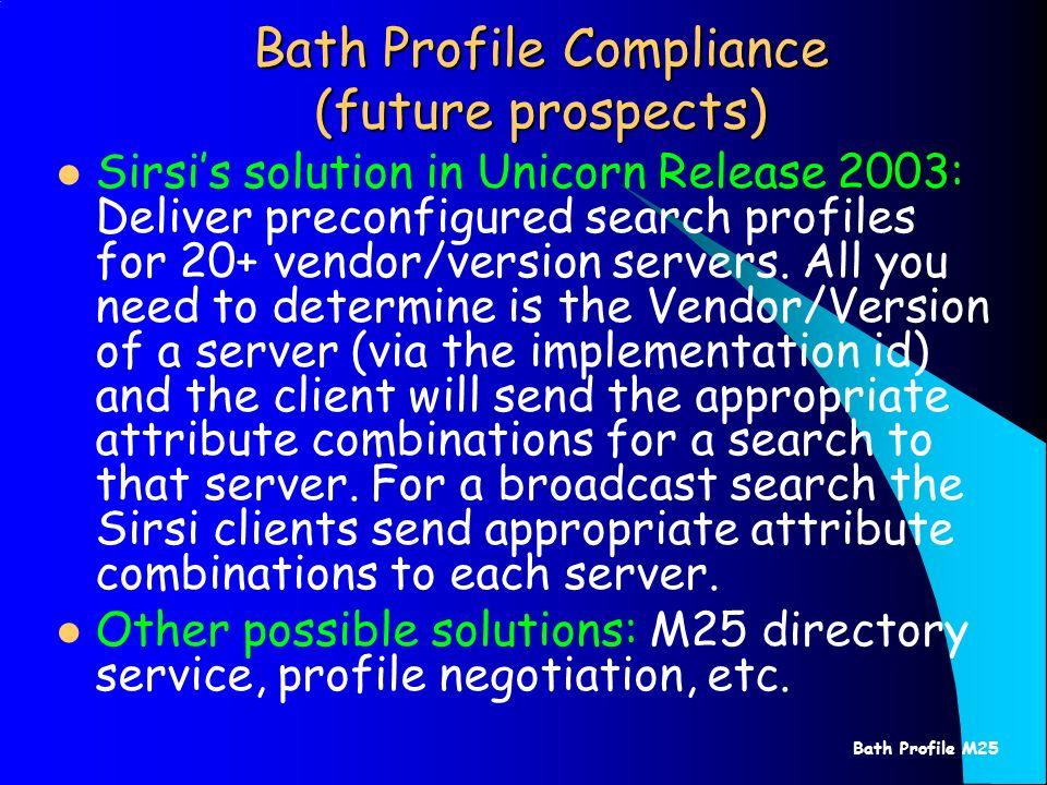 Bath Profile M25 Bath Profile Compliance (future prospects) Sirsis solution in Unicorn Release 2003: Deliver preconfigured search profiles for 20+ ven