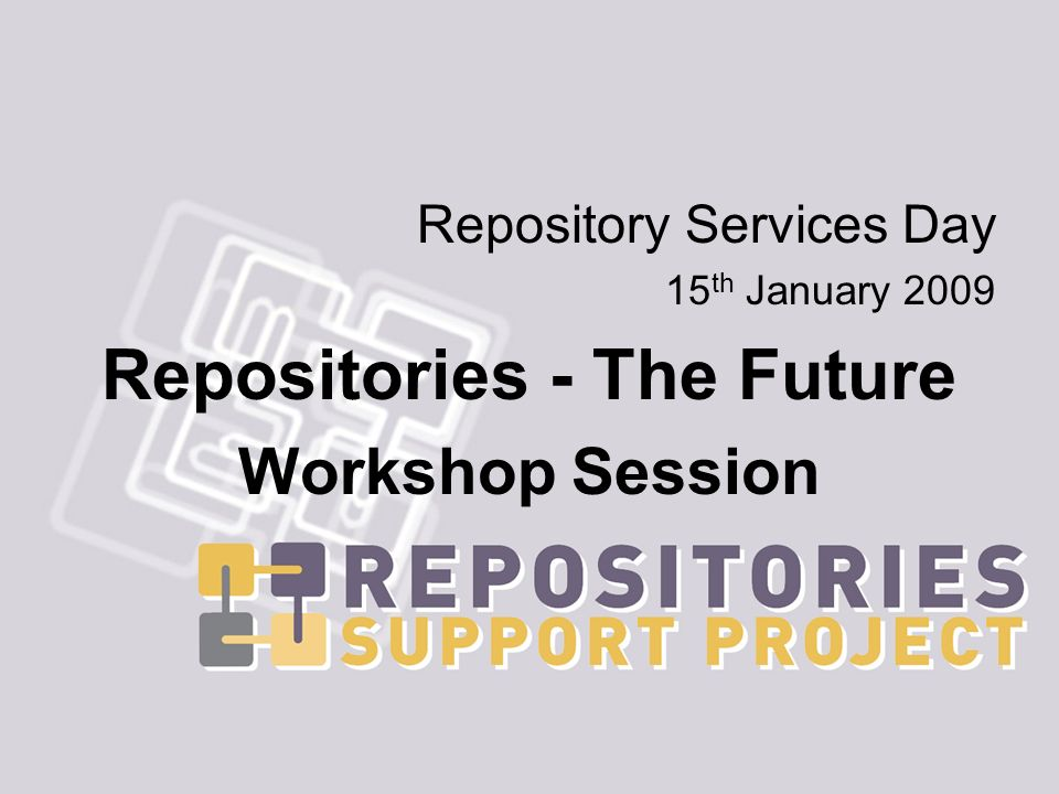 Repository Services Day 15 th January 2009 Repositories - The Future Workshop Session