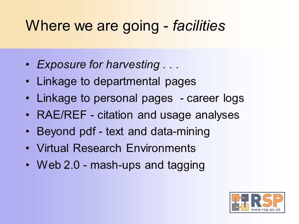 Where we are going - facilities Exposure for harvesting... Linkage to departmental pages Linkage to personal pages - career logs RAE/REF - citation an