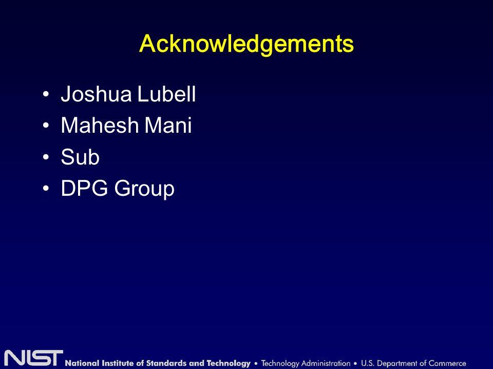 Acknowledgements Joshua Lubell Mahesh Mani Sub DPG Group