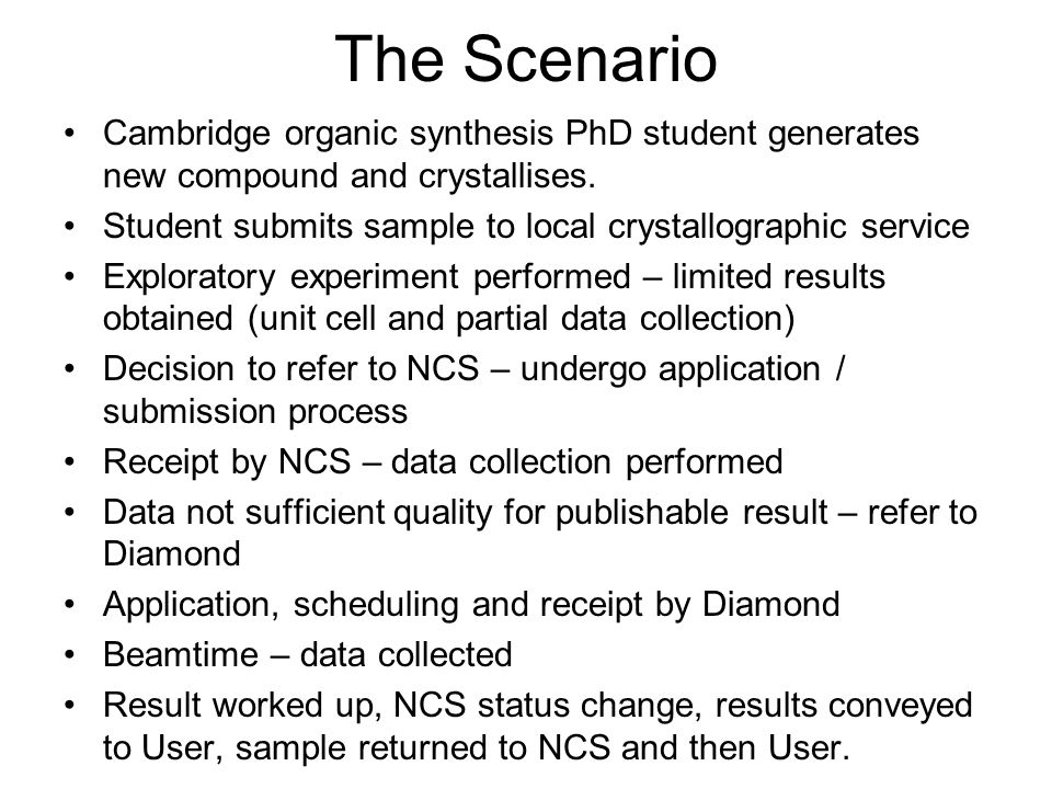 The Scenario Cambridge organic synthesis PhD student generates new compound and crystallises. Student submits sample to local crystallographic service