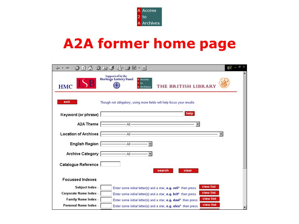 A2A former home page