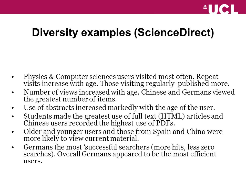 Diversity examples (ScienceDirect) Physics & Computer sciences users visited most often.