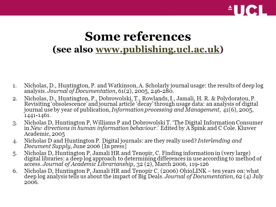 Some references (see also www.publishing.ucl.ac.uk)www.publishing.ucl.ac.uk 1.Nicholas, D., Huntington, P.