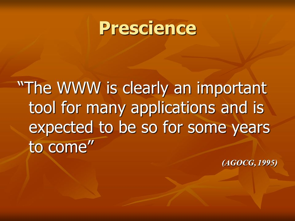 Prescience The WWW is clearly an important tool for many applications and is expected to be so for some years to come (AGOCG, 1995)