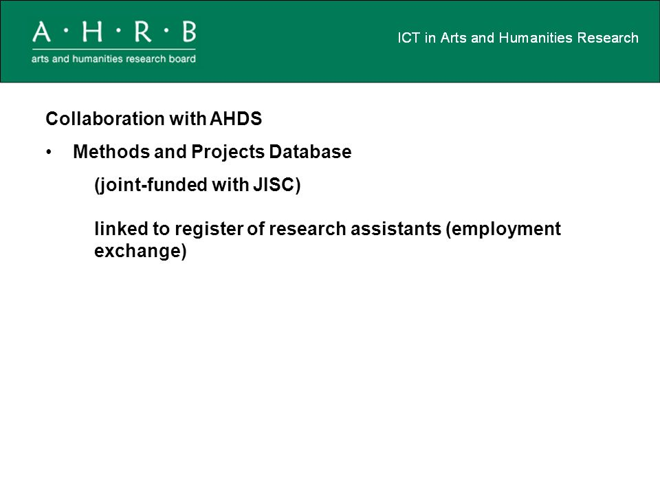 Collaboration with AHDS Methods and Projects Database (joint-funded with JISC) linked to register of research assistants (employment exchange)