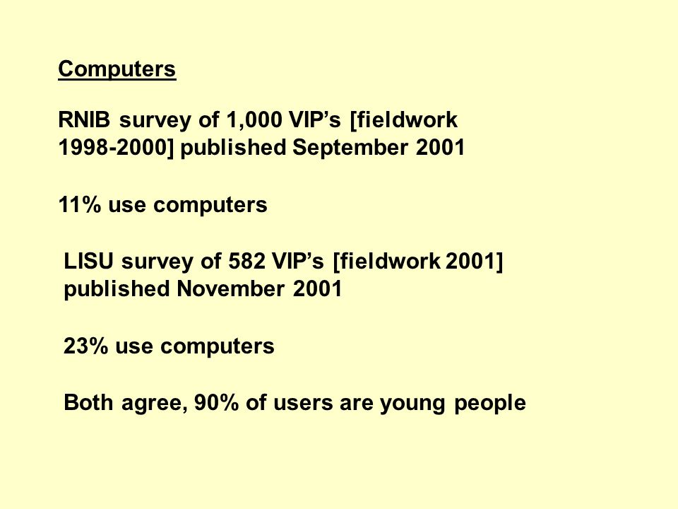 Computers RNIB survey of 1,000 VIPs [fieldwork 1998-2000] published September 2001 11% use computers LISU survey of 582 VIPs [fieldwork 2001] published November 2001 23% use computers Both agree, 90% of users are young people