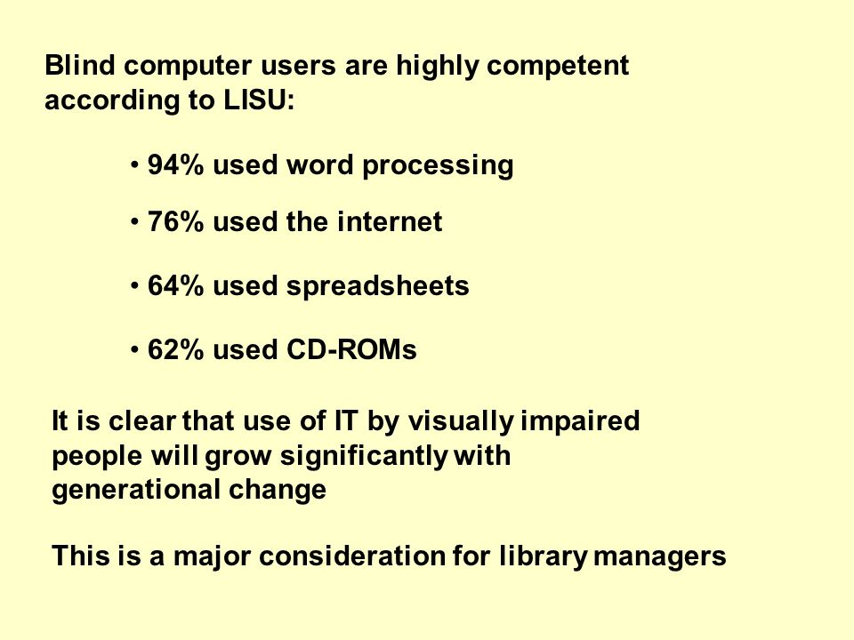 Blind computer users are highly competent according to LISU: 94% used word processing 76% used the internet 64% used spreadsheets 62% used CD-ROMs It