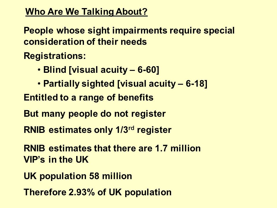 Who Are We Talking About? People whose sight impairments require special consideration of their needs Registrations: Blind [visual acuity – 6-60] Part