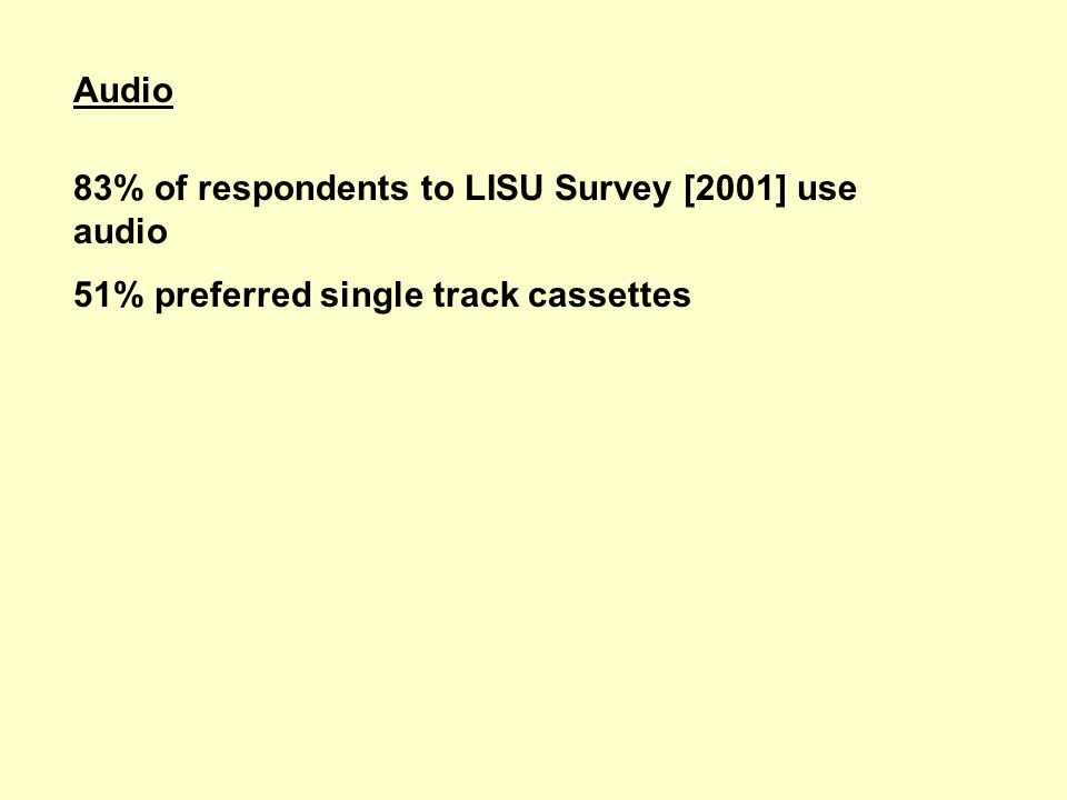 Audio 83% of respondents to LISU Survey [2001] use audio 51% preferred single track cassettes