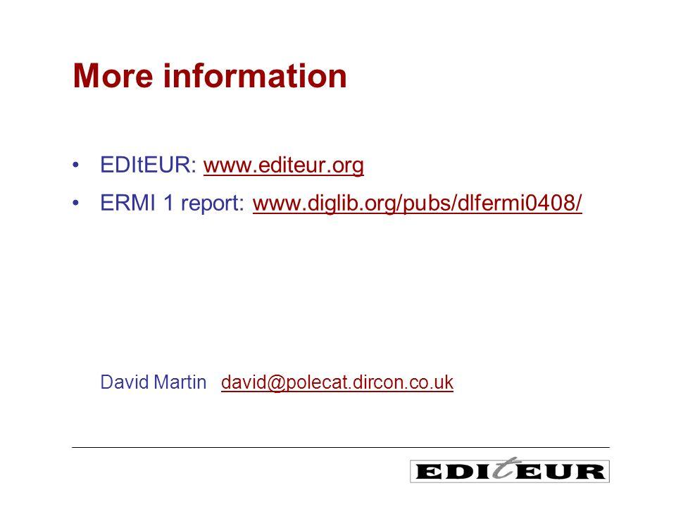 EDItEUR: www.editeur.orgwww.editeur.org ERMI 1 report: www.diglib.org/pubs/dlfermi0408/www.diglib.org/pubs/dlfermi0408/ David Martin david@polecat.dircon.co.ukdavid@polecat.dircon.co.uk More information