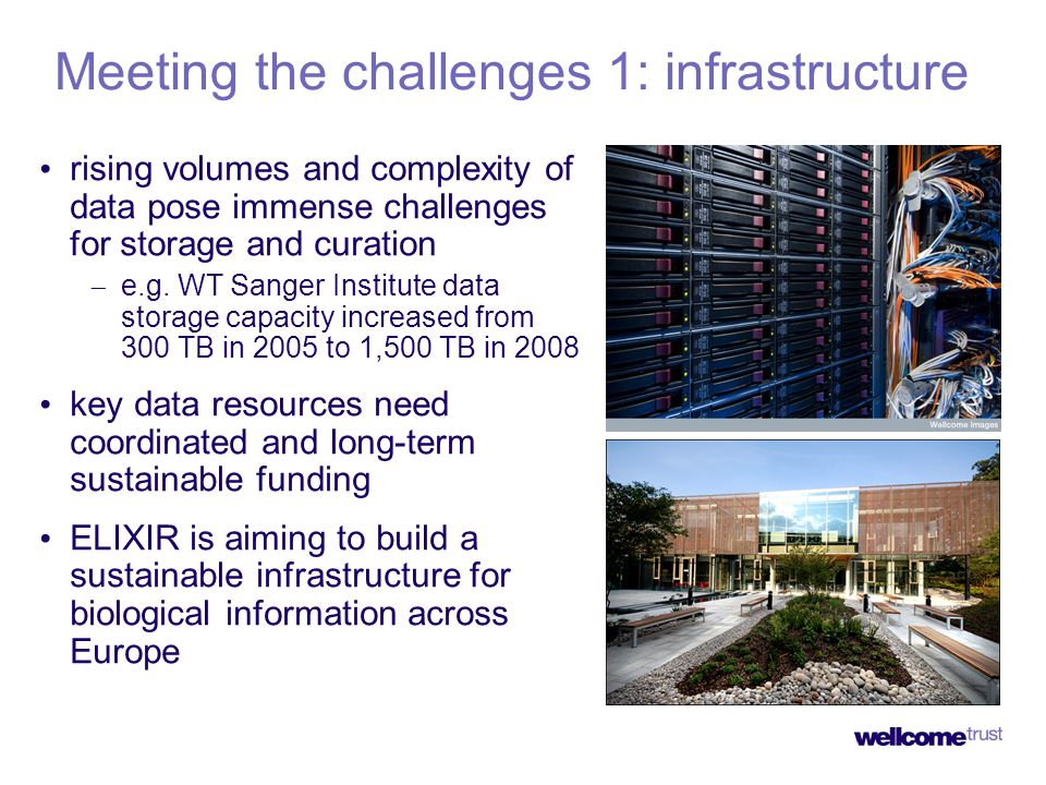 Meeting the challenges 1: infrastructure rising volumes and complexity of data pose immense challenges for storage and curation e.g. WT Sanger Institu