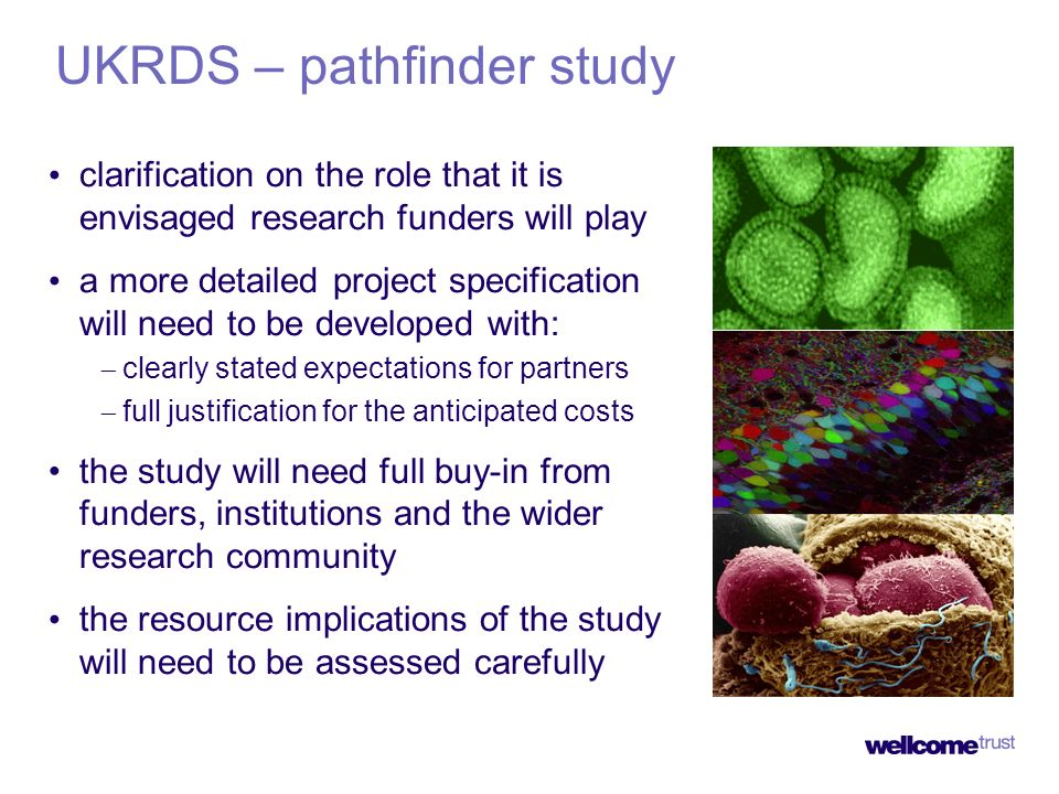 UKRDS – pathfinder study clarification on the role that it is envisaged research funders will play a more detailed project specification will need to be developed with: clearly stated expectations for partners full justification for the anticipated costs the study will need full buy-in from funders, institutions and the wider research community the resource implications of the study will need to be assessed carefully