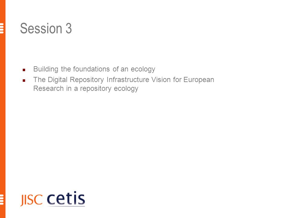 Session 4 Further discussion [flexibility] Ecology model or discussion of building european services/ interoperability challenges Addressing specific questions Environmental factors Interaction of wider web Overall benefit 8 R.