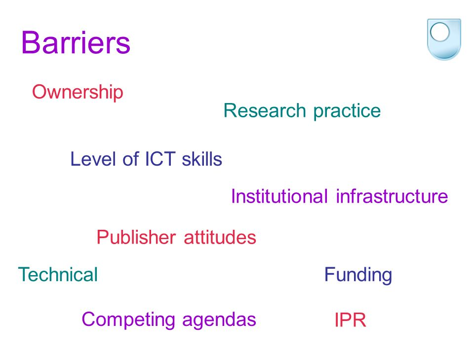 Barriers Ownership Research practice Level of ICT skills Institutional infrastructure Technical Publisher attitudes Funding Competing agendas IPR