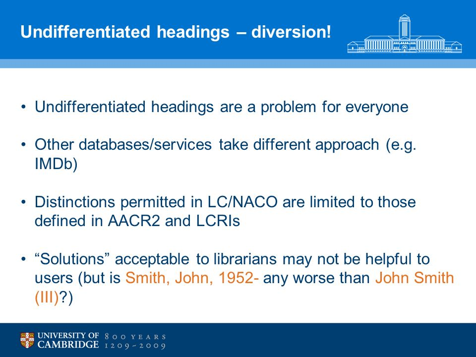 Undifferentiated headings – diversion.