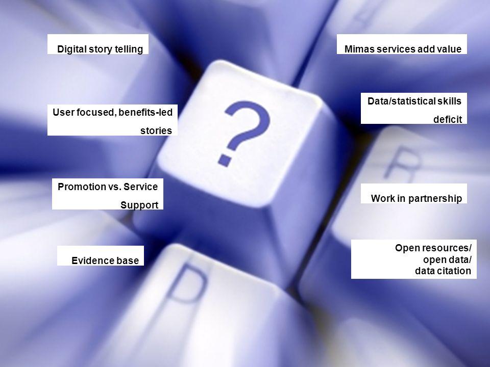 Digital story telling User focused, benefits-led stories Promotion vs.