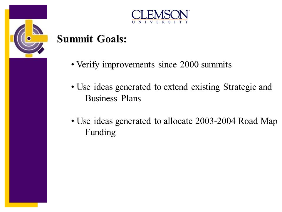 Summit Goals: Verify improvements since 2000 summits Use ideas generated to extend existing Strategic and Business Plans Use ideas generated to allocate 2003-2004 Road Map Funding