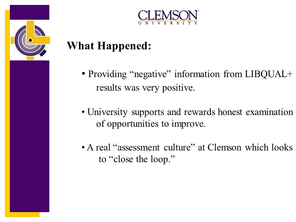 What Happened: Providing negative information from LIBQUAL+ results was very positive.