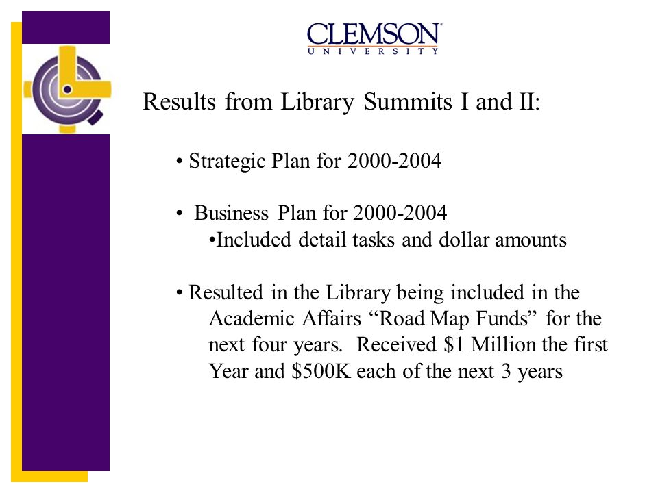 Results from Library Summits I and II: Strategic Plan for 2000-2004 Business Plan for 2000-2004 Included detail tasks and dollar amounts Resulted in t