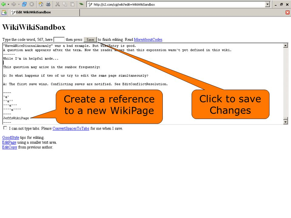 Create a reference to a new WikiPage Click to save Changes