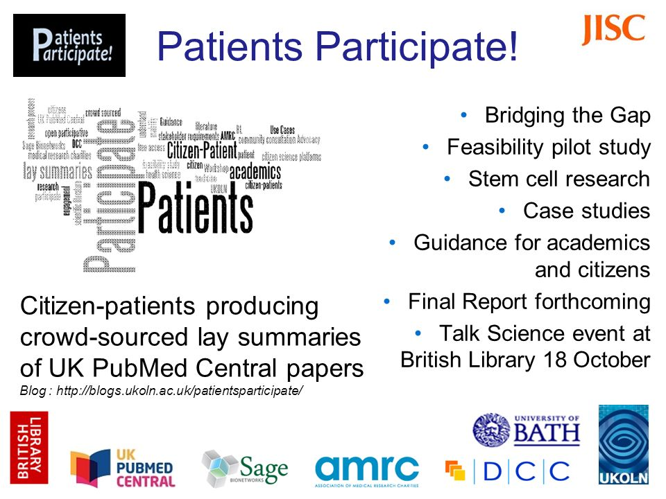 Patients Participate! Bridging the Gap Feasibility pilot study Stem cell research Case studies Guidance for academics and citizens Final Report forthc