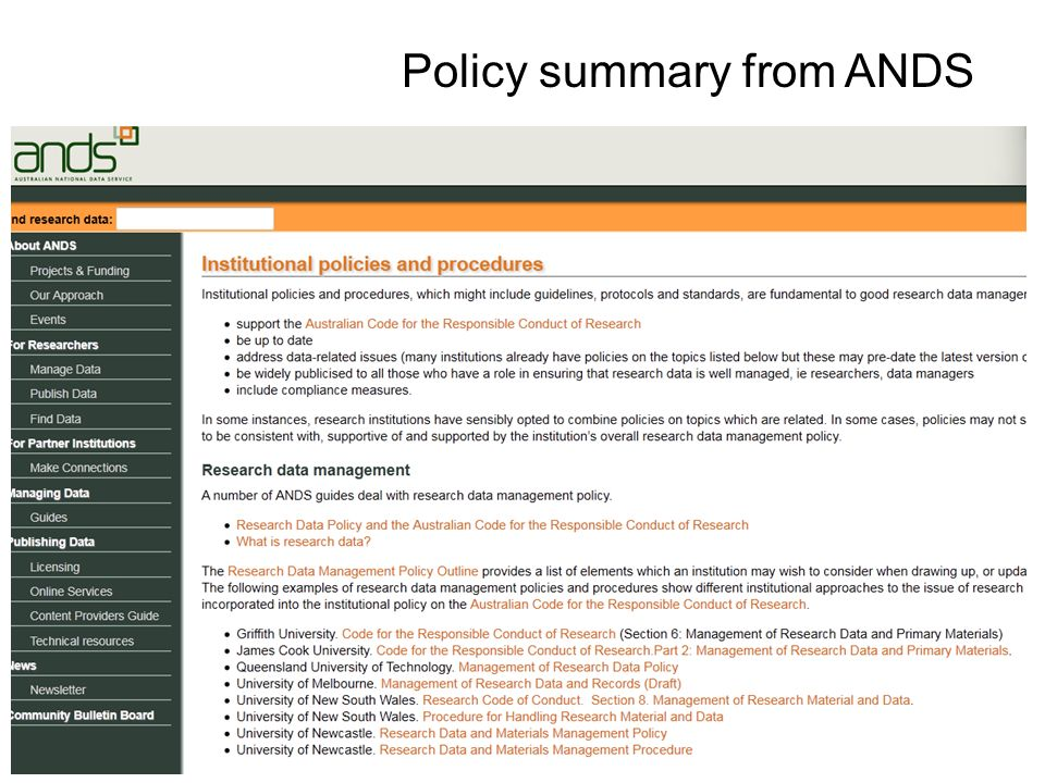 Policy summary from ANDS