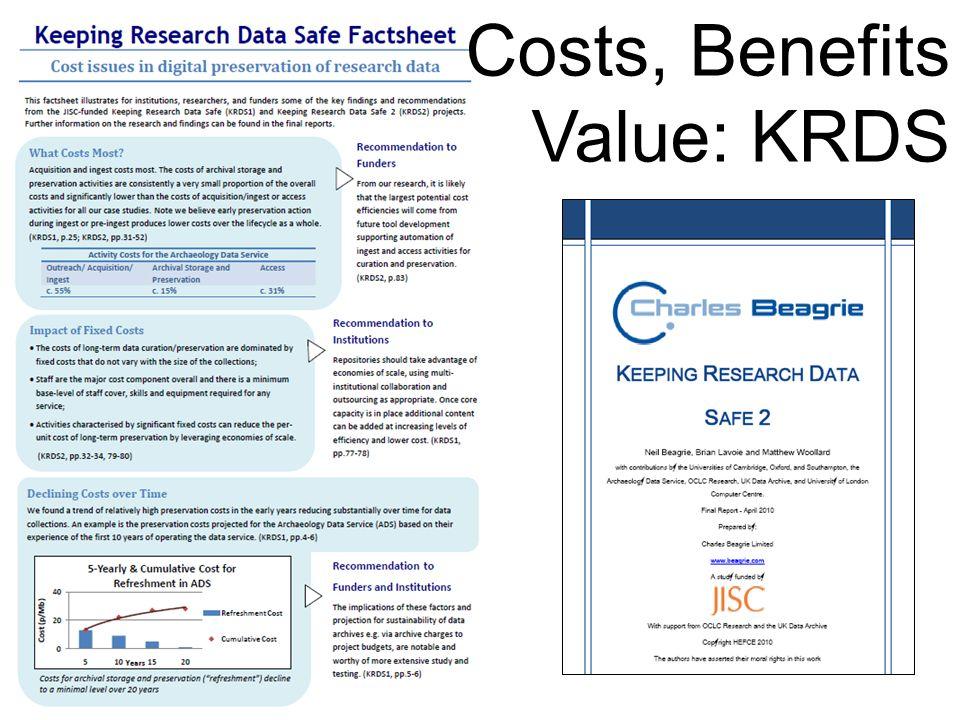 Costs, Benefits Value: KRDS