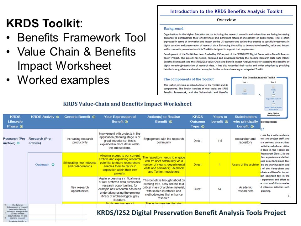 KRDS Toolkit: Benefits Framework Tool Value Chain & Benefits Impact Worksheet Worked examples
