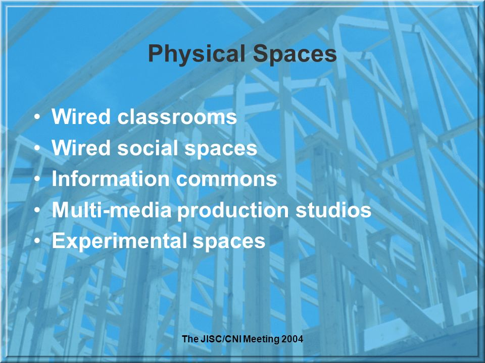 The JISC/CNI Meeting 2004 Physical Spaces Wired classrooms Wired social spaces Information commons Multi-media production studios Experimental spaces