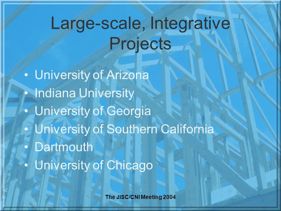 The JISC/CNI Meeting 2004 Large-scale, Integrative Projects University of Arizona Indiana University University of Georgia University of Southern Cali