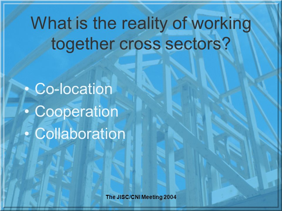 The JISC/CNI Meeting 2004 What is the reality of working together cross sectors? Co-location Cooperation Collaboration