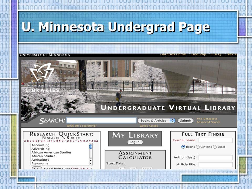 U. Minnesota Undergrad Page