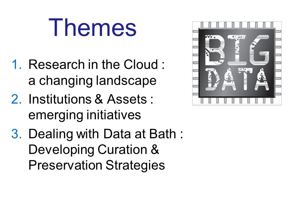 Themes 1.Research in the Cloud : a changing landscape 2.Institutions & Assets : emerging initiatives 3.Dealing with Data at Bath : Developing Curation & Preservation Strategies