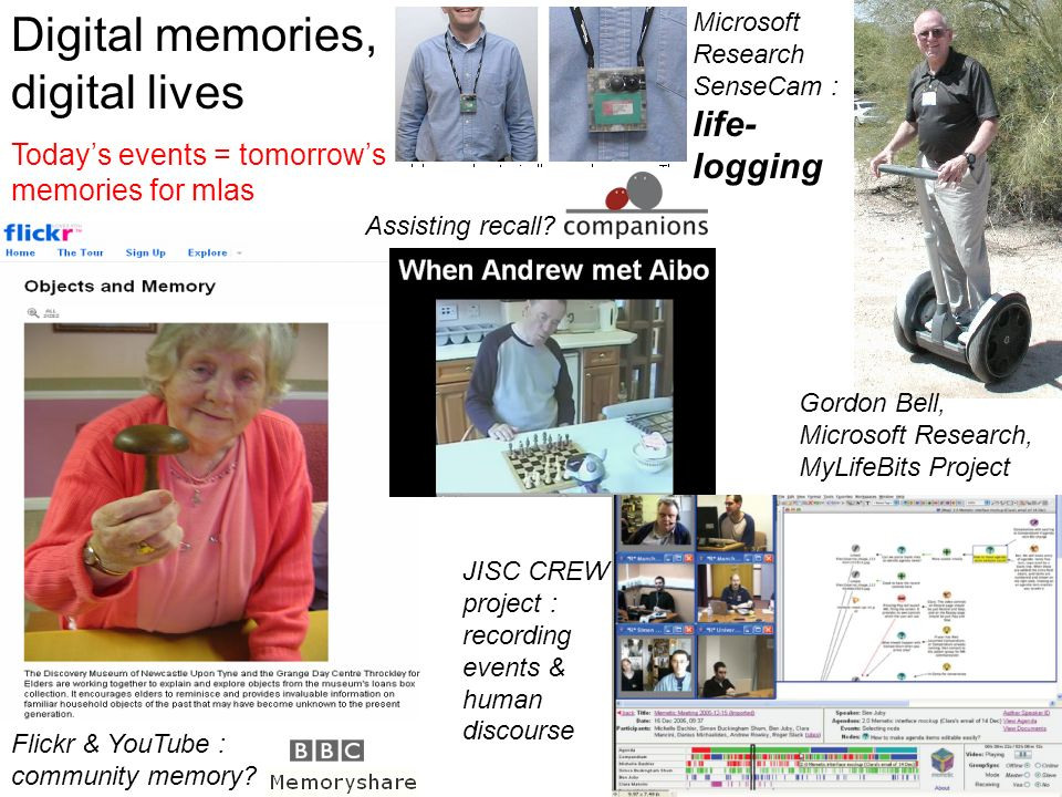 Digital memories, digital lives Todays events = tomorrows memories for mlas Flickr & YouTube : community memory? JISC CREW project : recording events