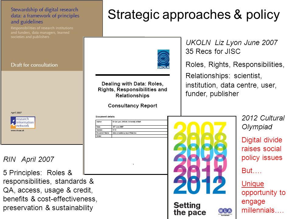 UKOLN Liz Lyon June 2007 35 Recs for JISC Roles, Rights, Responsibilities, Relationships: scientist, institution, data centre, user, funder, publisher