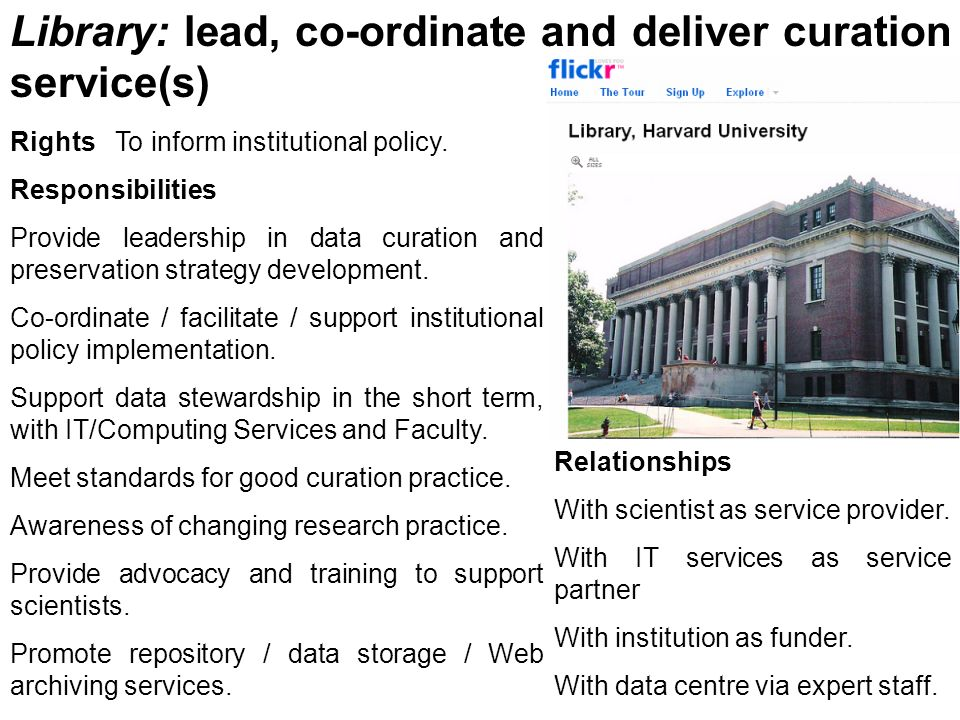 Library: lead, co-ordinate and deliver curation service(s) Rights To inform institutional policy. Responsibilities Provide leadership in data curation