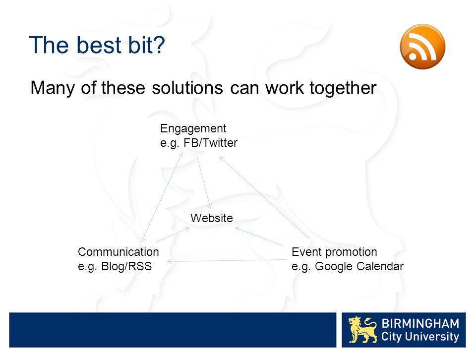 The best bit.Engagement e.g. FB/Twitter Communication e.g.