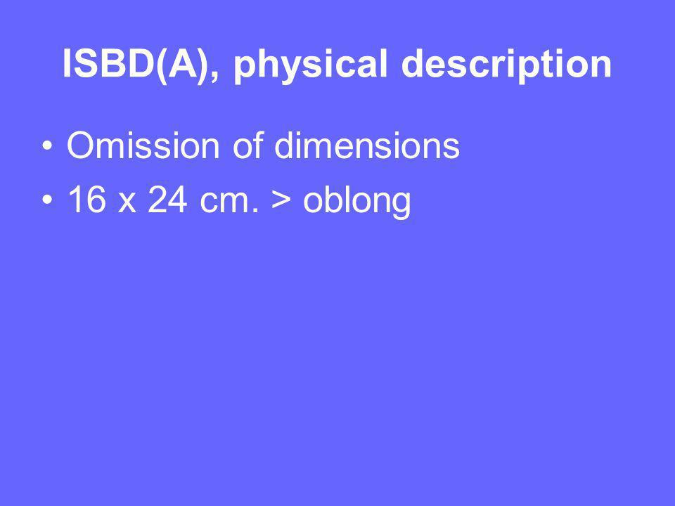 ISBD(A), physical description Omission of dimensions 16 x 24 cm. > oblong