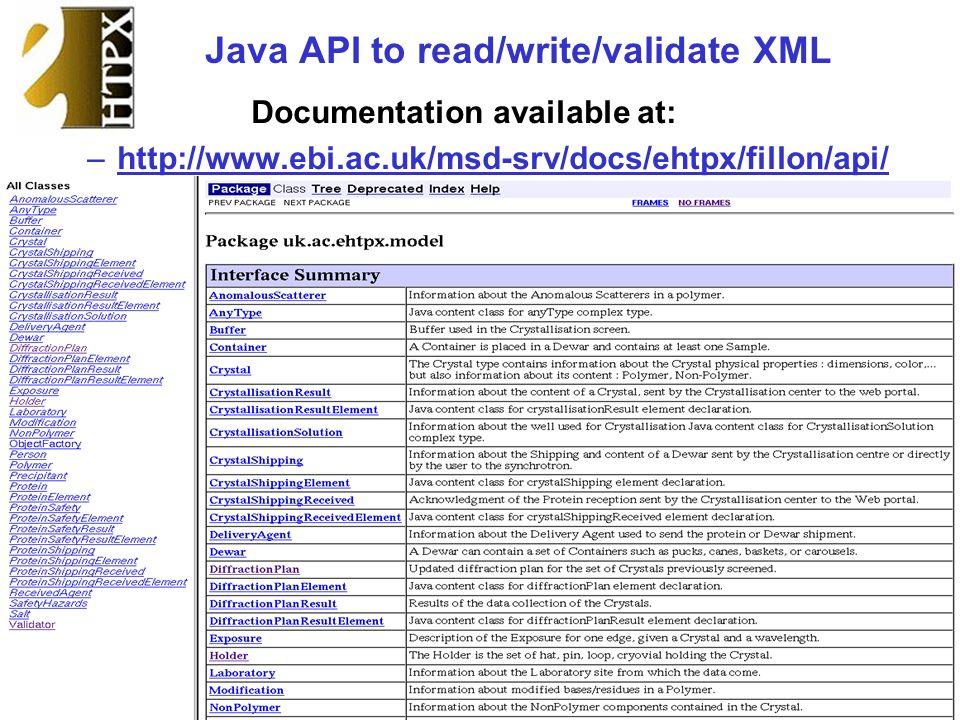 Java API to read/write/validate XML Documentation available at: –http://www.ebi.ac.uk/msd-srv/docs/ehtpx/fillon/api/