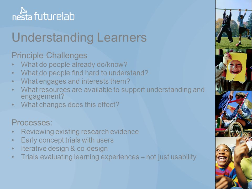 Understanding Learners Principle Challenges What do people already do/know.