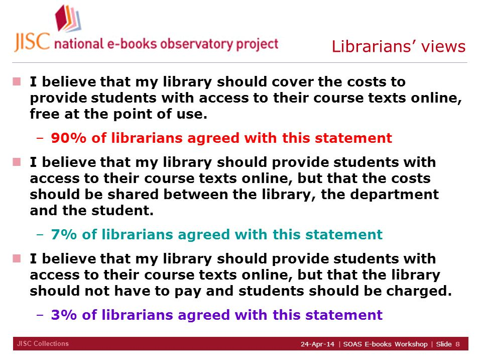 JISC Collections 24-Apr-14 | SOAS E-books Workshop | Slide 8 Librarians views I believe that my library should cover the costs to provide students wit