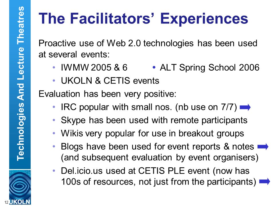 A centre of expertise in digital information managementwww.ukoln.ac.uk 12 The Facilitators Experiences Proactive use of Web 2.0 technologies has been used at several events: IWMW 2005 & 6 ALT Spring School 2006 UKOLN & CETIS events Evaluation has been very positive: IRC popular with small nos.